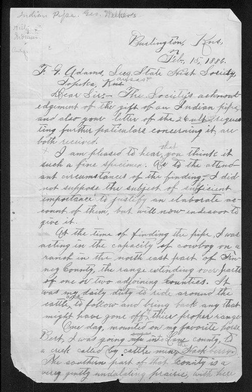 George Walker to Franklin G. Adams - Page
