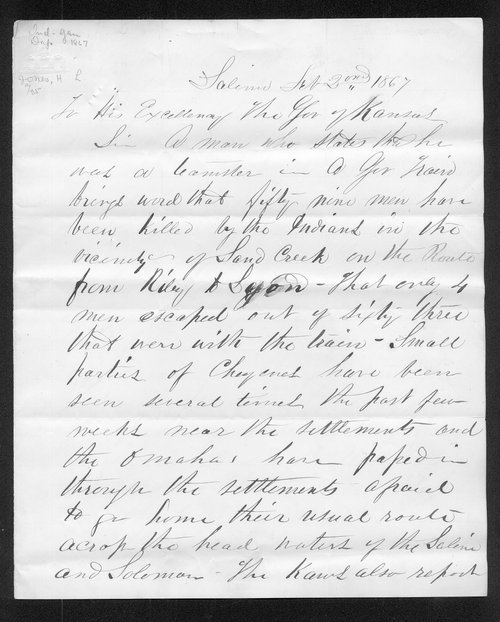 H.L.Jones to Governor Samuel J. Crawford - Page