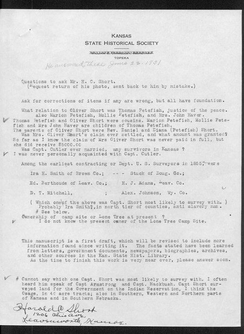 Correspondence on the Lone Tree massacre, Meade County - Page