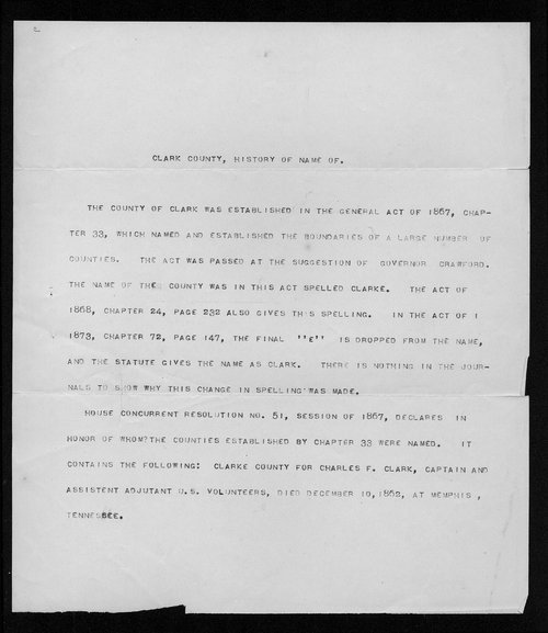 Clark County, history of name of - Page