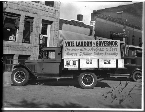 Alf Landon's campaign truck, Junction City, Kansas - Page