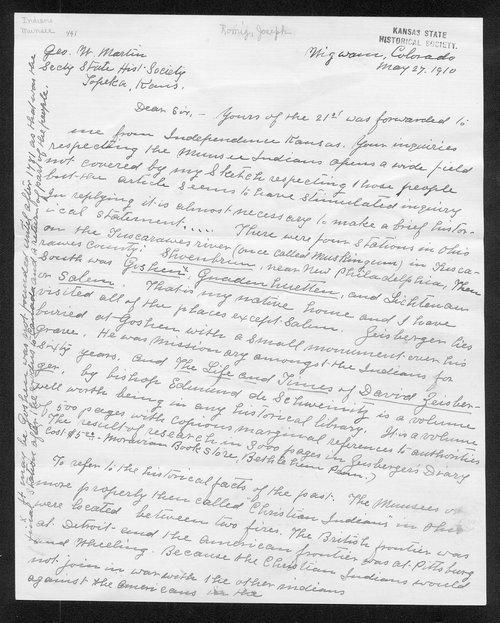 Joseph Romig to George W. Martin - Page