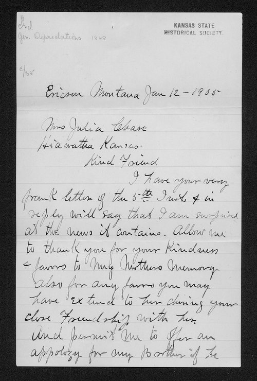 Hiram Bickerdyke, Julia A. Chase, and George Washington Martin Correspondence - Page