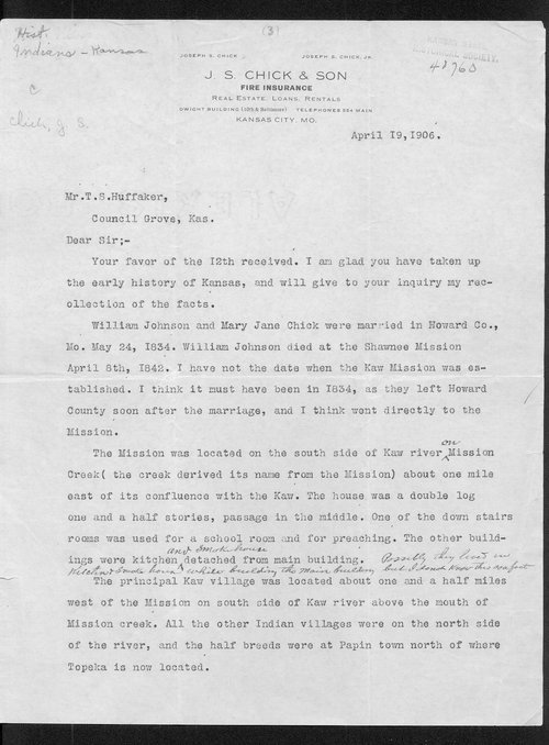T.S Huffaker and Joseph S. Chick correspondence - Page