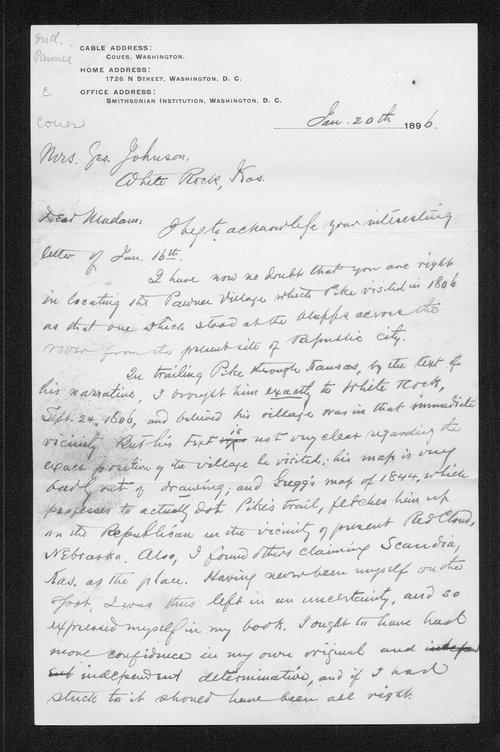 Zebulon Pike trip and Pawnee Indian Village correspondence - Page
