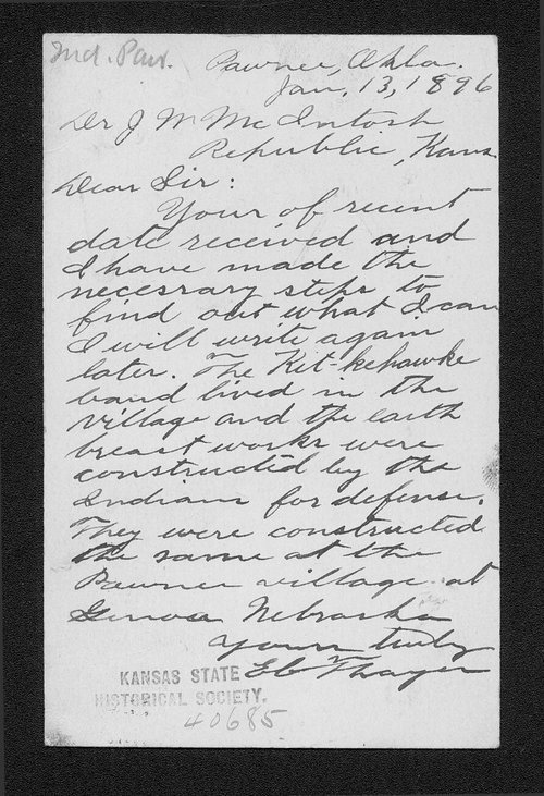 E.C. Thayer to Dr. J.W. McIntosh correspondence - Page