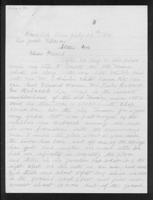 Joab Spencer, William Johnson, George W. Martin, and Alice Perkins correspondence - Page