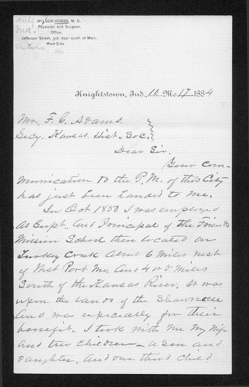 Wilson Hobbs to Franklin G. Adams correspondence - Page