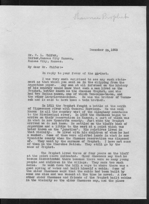 William E. Connelley to C.L. Phifer - Page