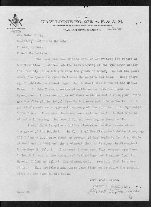 Grant W. Harrington and William E. Connelley correspondence - Page