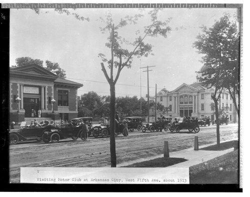Visting motor club by library,  Arkansas City, Kansas - Page