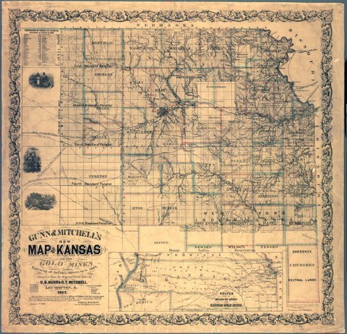 Gunn & Mitchell's New Map of Kansas and the Gold Mines - Page