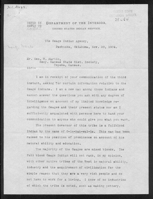 Frank Frantz to George W. Martin - Page