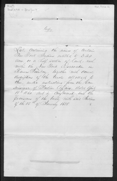 List E indicating the locations of land made for the New York Indians in Kansas Territory - Page