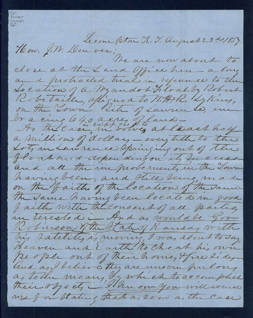 W. B. Almond to General James William Denver - Page