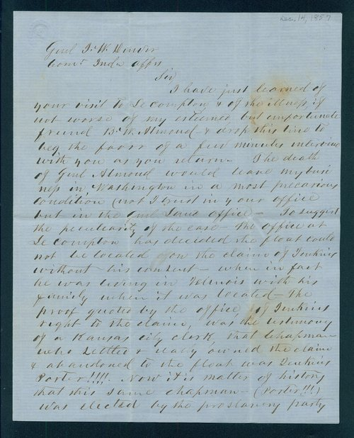 Johnston Lykins to General James William Denver - Page
