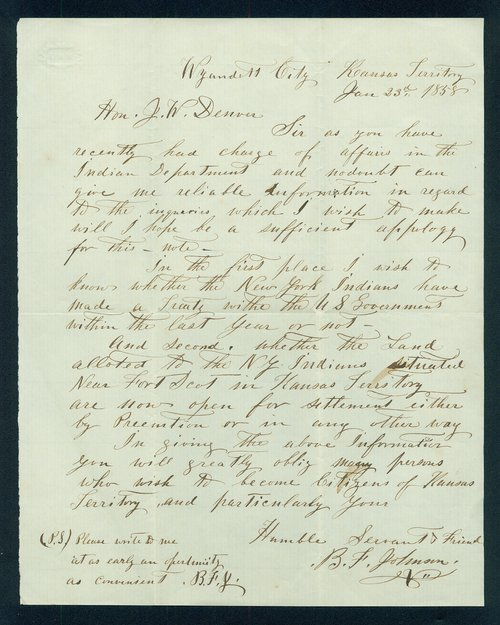 B.F. Johnson to General James William Denver - Page