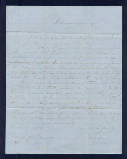 B.F. Robinson to General James William Denver - Page
