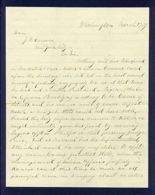 R.S. Stevens to General James William Denver - Page