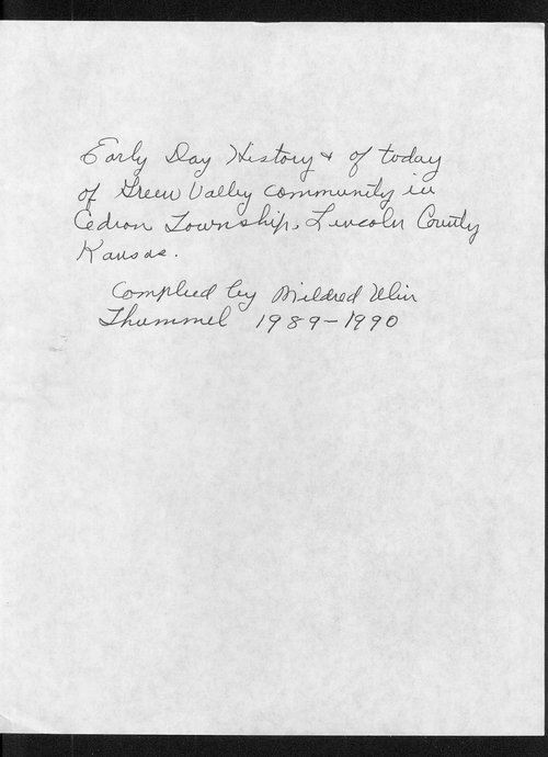 History of Green Valley community in Cedron township, Lincoln County, Kansas - Page