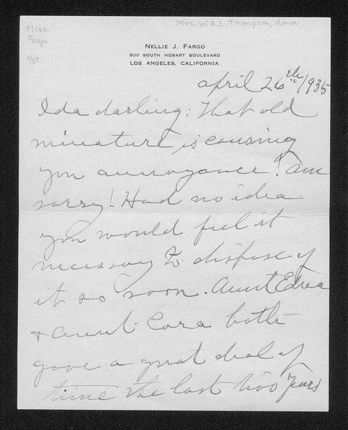 Nellie J. Fargo to W.A.L. Thompson - Page