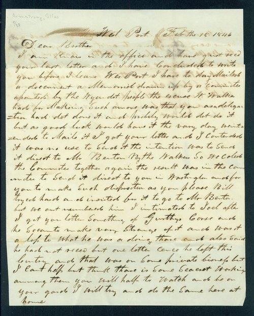 Silas Armstrong to John M. Armstrong - Page