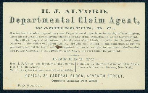 H.J. Alvord, departmental claim agent, Washington, D.C. - Page