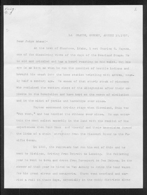 Albert R. Greene to Franklin G. Adams - Page