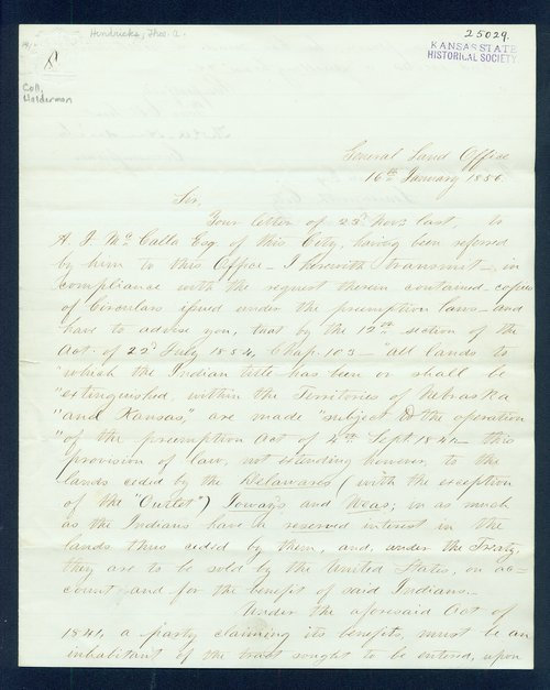 Thomas A. Hendricks to John A. Haldeman - Page