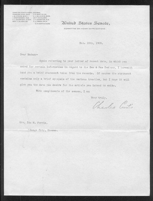 Senator Charles Curtis to Ida M. Ferris - Page