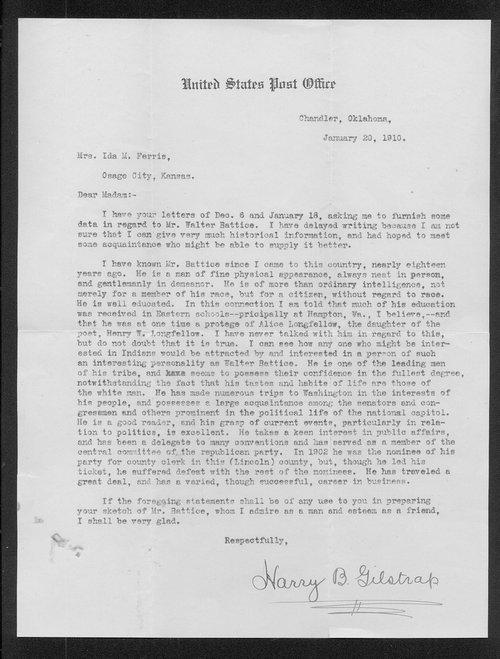 Harry B. Gilstrap to Ida M. Ferris - Page