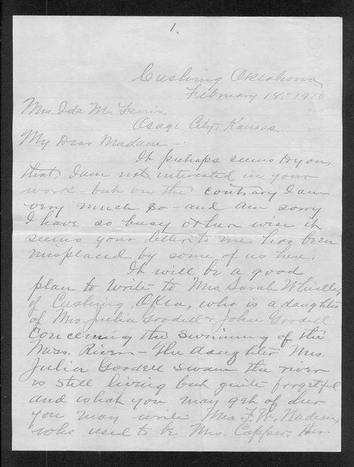 Walter Battice to Ida M. Ferris - Page