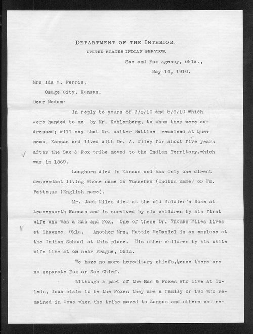 Leo Whistler to Ida M. Ferris - Page