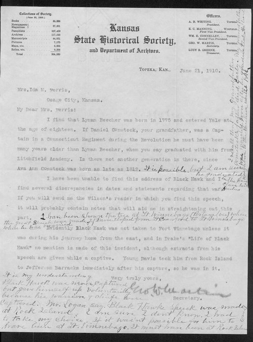George W. Martin to Ida M. Ferris - Page