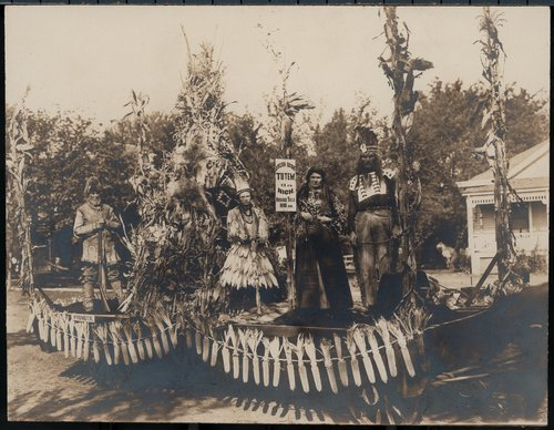 A photograph of the winning float from the Corn Carnival in Junction City, Kansas, 1907