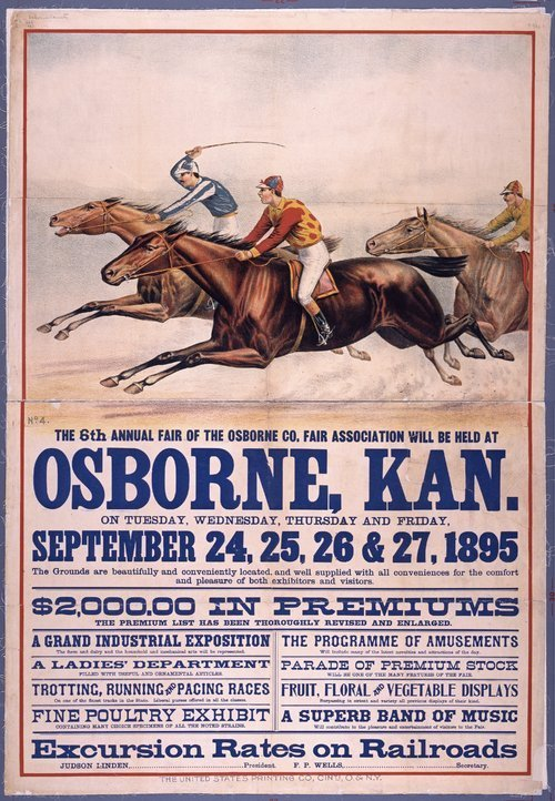 Image of advertising poster for Osborne County fair, 1895