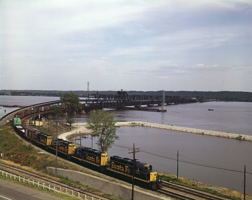 Atchison Topeka & Santa Fe Railway Company freight train, Mississippi River bridge - Page