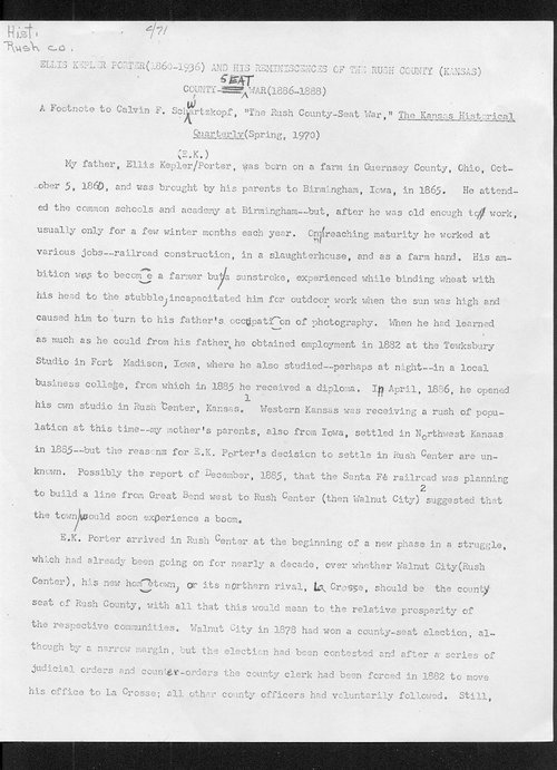 Ellis Kepler Porter and his reminiscences of the Rush County (Kansas) county seat war (1886-1888) - Page