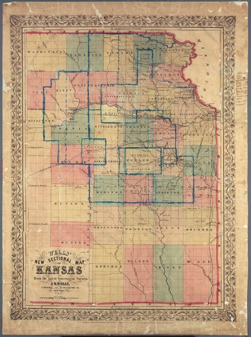 Wells' new sectional map of Kansas - Page