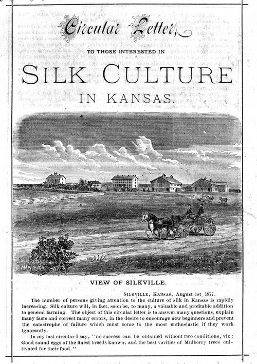Image of circular letter encouraging farmers to add the  culture of silk to their general farming and including a picture of  several multi-storied buildings in Silkville, Aug. 1, 1877. CLICK TO ENLARGE