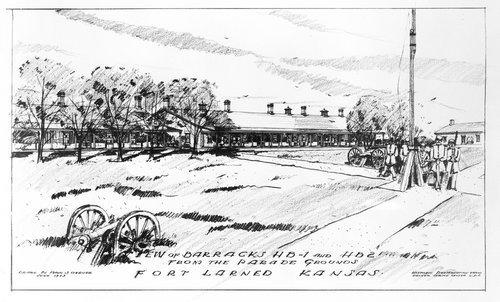 Sketch of Fort Larned barracks - Page