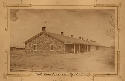 Photograph of Fort Larned barracks, 1879.