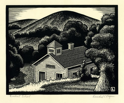 "Woodcut by Hershel C. Logan showing a country school that according to the artist, was ""on old U.S. 40 Highway near Manhattan, Kansas."""