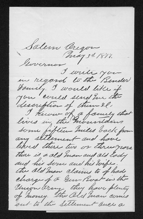 Governor George Anthony crime and criminals received correspondence, Bender case - Page