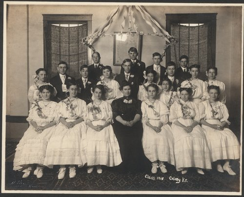 Photograph showing members of a graduating class in Colony, 1908.