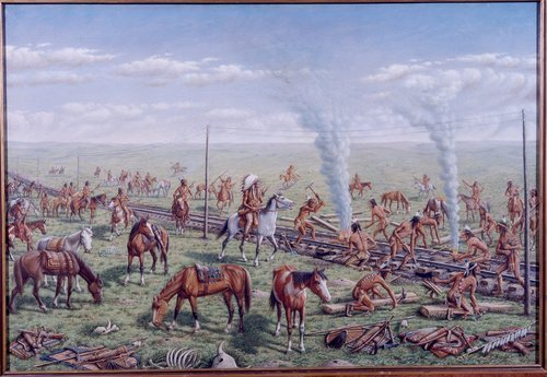 Indians Destroying Railroad Tracks near Russell, Kansas - Page