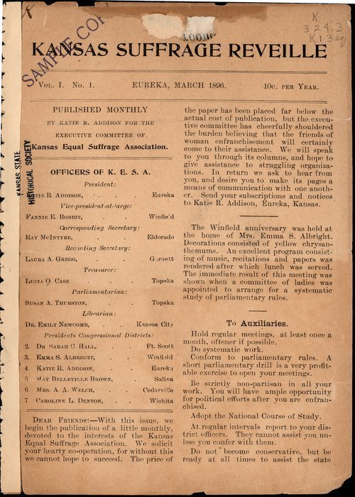 Kansas Suffrage Reveille: organ of the Kansas Equal Suffrage Association - Page
