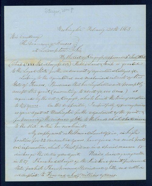 Governor Thomas Carney college and university lands, 1863, correspondence - Page