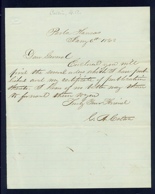 Governor Thomas Carney military affairs correspondence - Page