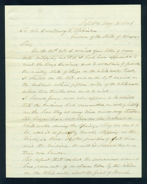William R. Griffith to Governor Charles Robinson - Page